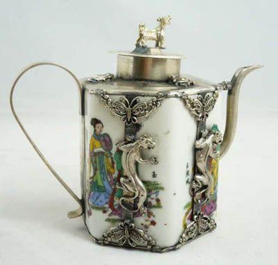Collectibles china Tibet Silver Dragon Porcelain teapot.
