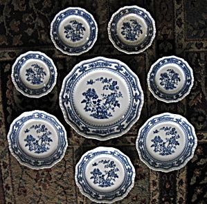 Masons Manchu Older Plates Blue And White Ironstone Lot of 8