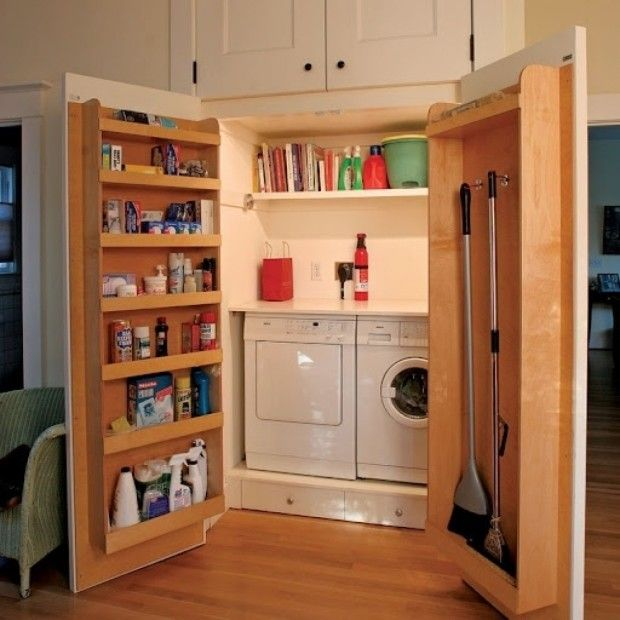 Storage Ideas for Small Apartments--I actually love this idea for any living space. Good, consolidated storage and organization...