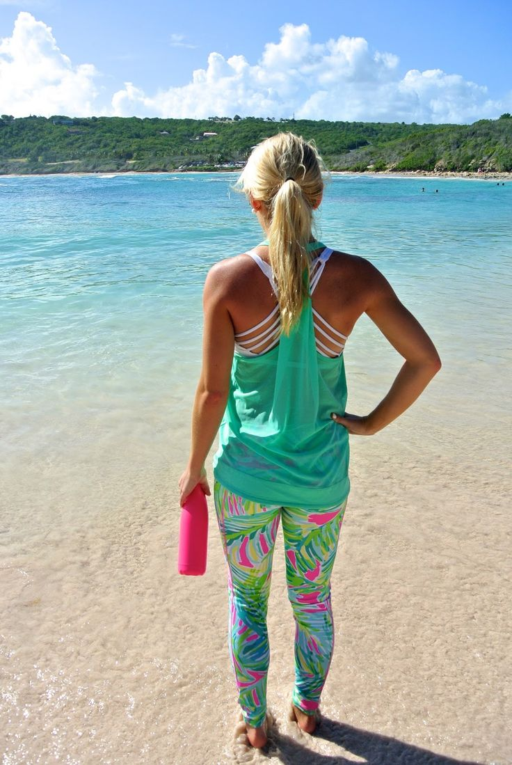 Outfit details: top: Lulu Lemon // bottoms: Lilly Pulitzer {I can't find them in stock anywhere, but shop similar items below!} // bra: Lulu Lemon // water bottle: S'well location: Half Moon Bay, Antigua Crystal turquoise waters, blue skies with white puffy clouds, and the softest sand I've ever felt… one of the most beautiful...