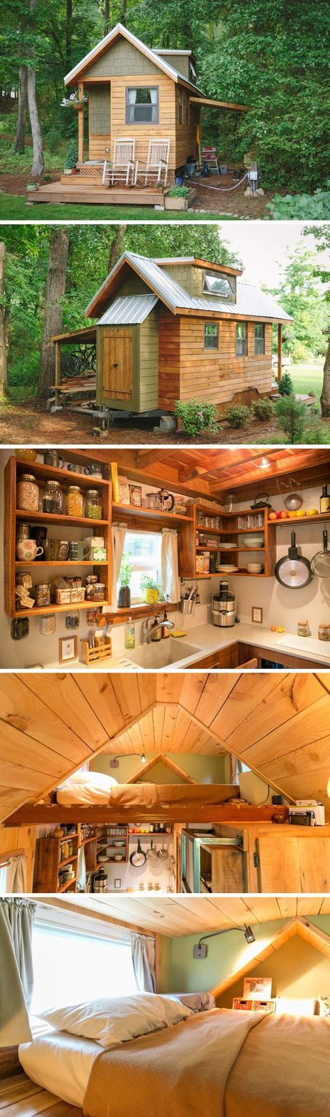 This traditional craftsman style tiny house uses hickory engineered hardwood floors, pine tongue and groove interior walls, and wooden touches both inside and out.: