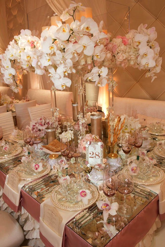 35 best table decor rose gold images on pinterest wedding 36 timeless gold wedding decorations ideas junglespirit Image collections