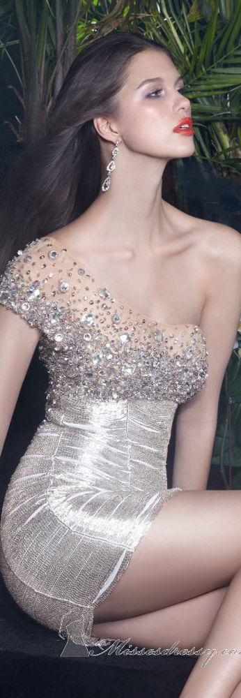 Embellished Silver One Shoulder Mini Dress by Alyce Claudine Collection