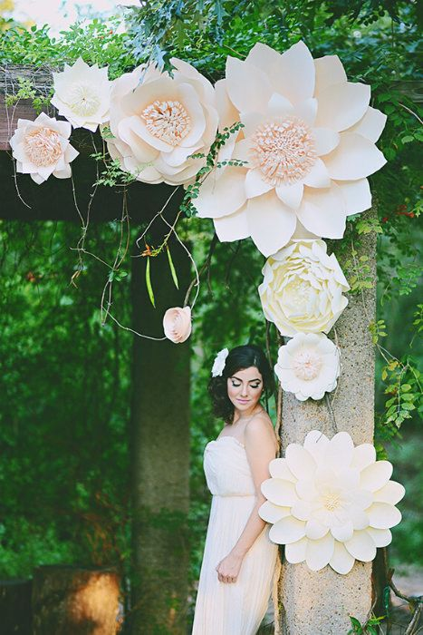 Beautiful paper flowers as altar décor Photo Source: 100 layer cake #weddingaltardecor #paperflowers #ceremonybackdrop