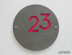 Modern House Numbers, Round Concrete with Pink Acrylic - Contemporary Home Address -Sign Plaque - Door Number