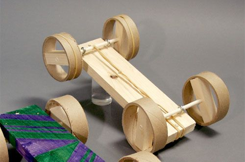 How to make a toy car using a rubber band motor.