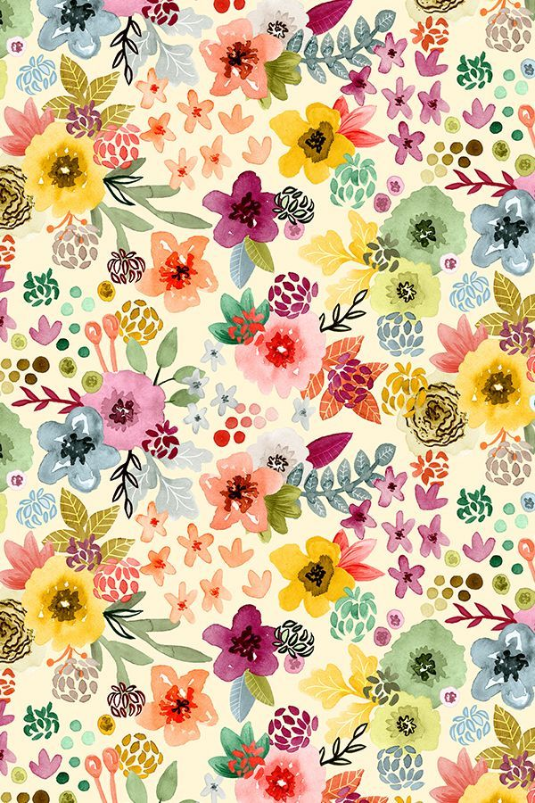 Colorful Fabrics Digitally Printed By Spoonflower Spring Floral By Angel Gerardo Floral Wallpaper Watercolor Wallpaper Flower Wallpaper