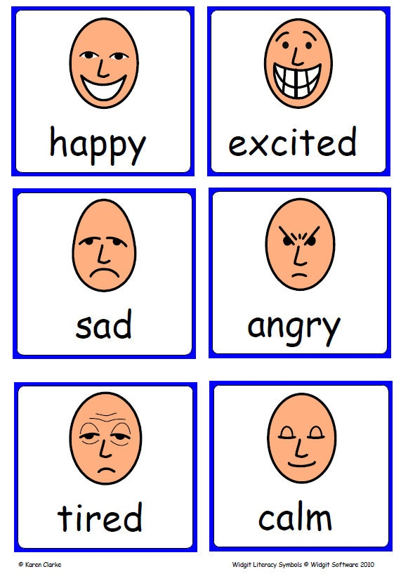Widgit Emotions flashcards - lots of useful symbols!