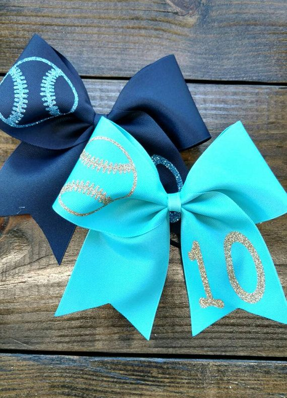 Softball Bow custom softball bow YOU PICK gold and by CraftyOhBows