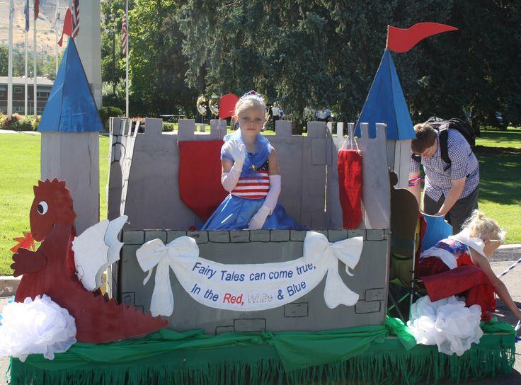 Side of cardboard castle more on for Princess float ideas