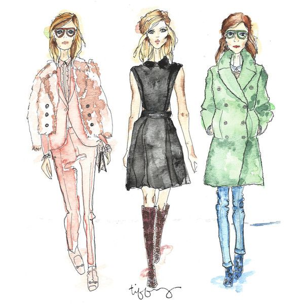 Piste de Gucci Gucci Gals AW14 inspiré Fashion Illustration 8 x 10 ($30) found on Polyvore
