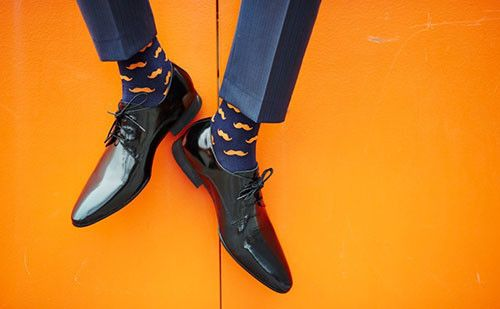 The Ned Orange & Navy Men's Socks #socks #menswear #fashion #navy #dapper