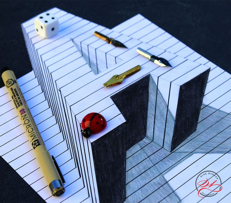 """Handlettering letter """"H"""", optical Illusion / Handlettering Buchstabe """"A"""""""