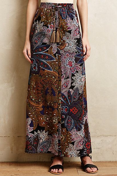 Great pattern!! I would pair it with a short jacket and boots for a fun night out! Petaled Paisley Maxi Skirt - anthropologie.com