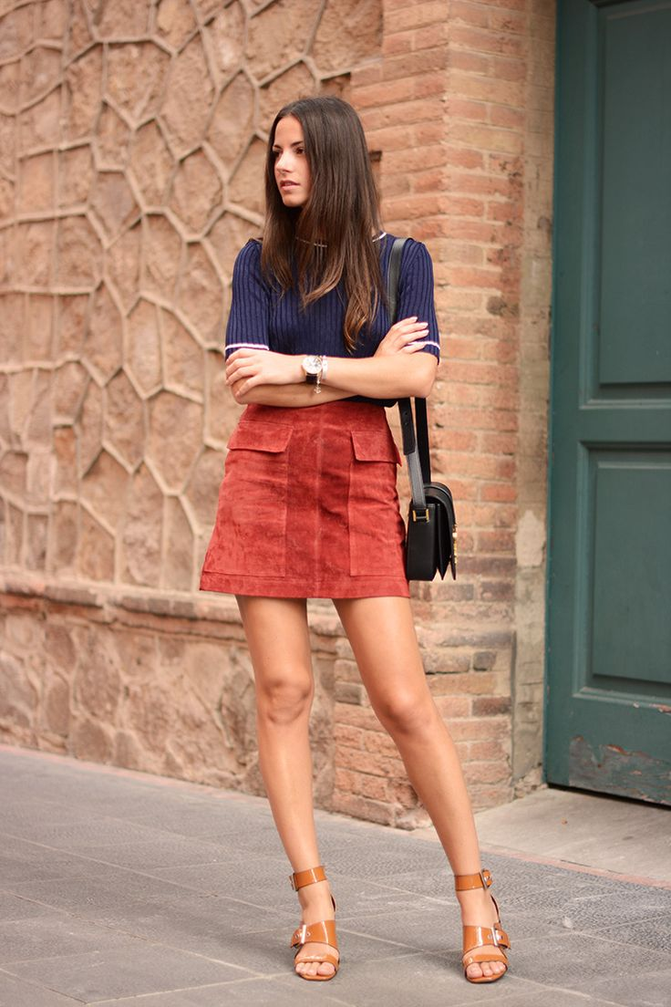 knitted top with suede skirt