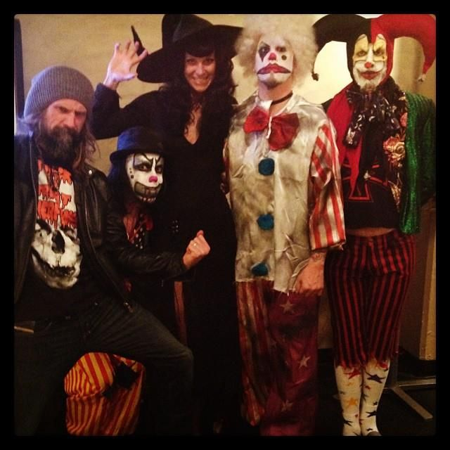 rob and sheri moon zombie hanging with the band before the jimmy kimmel show halloween - Rob Zombie Halloween Music