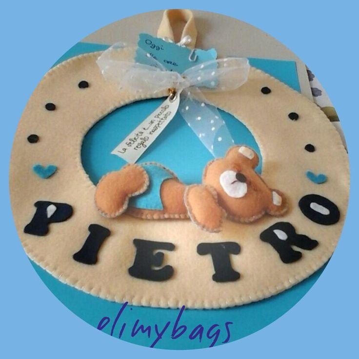 Fiocco nascita ghirlanda con orsetto che dorme in feltro♥, by Elimybags, 25,00 € su misshobby.com