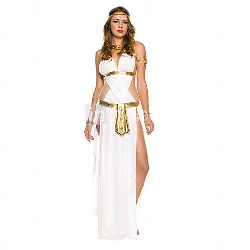 [EUR € 32.99] Traje de Carnaval de la diosa griega Mujeres Blanco satén