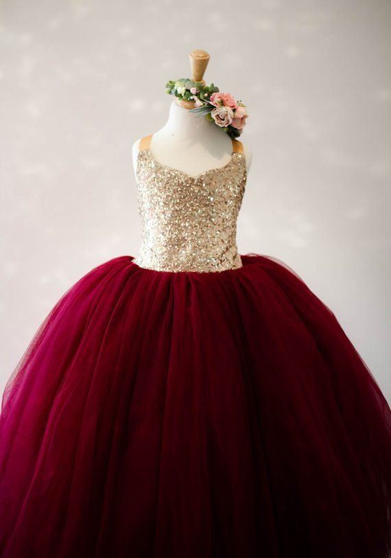 2950e9f533 The Ophelia Dress: Gold Sequin Bodice with Burgundy Skirt - Flower Girl Tutu  Dress
