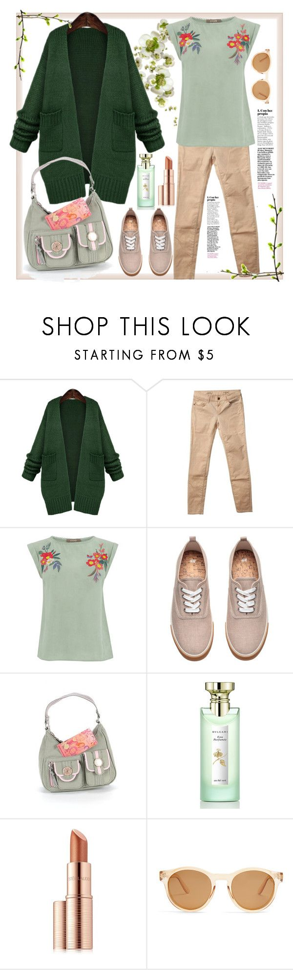 """Green & brown"" by natalyapril1976 on Polyvore featuring WithChic, Rich & Royal, Mudd, Bulgari, Estée Lauder and Le Specs"
