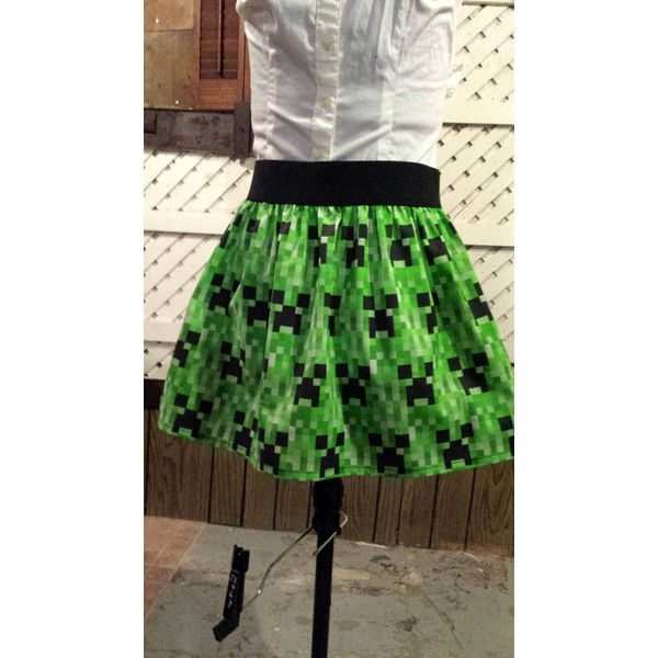 Minecraft Creeper 8 Bit Sz 32 34 Skirt ($34) ❤ liked on Polyvore featuring skirts, dark olive, women's clothing, olive green skirt, stretchy skirt, army green skirt, olive skirt and stretch skirt