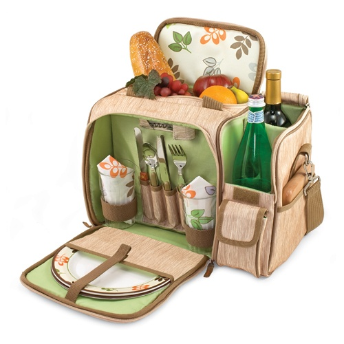 A convenient go-anywhere picnic pack, the Malibu - Botanica is great for trips to the beach, concerts or casual picnics. It is fully insulated and features a divided wine section for two bottles. The deluxe picnic service for two includes plates, tumblers, napkins, silverware, cutting board, cheese knife, and waiter-style corkscrew.  Easy to transport and fun to enjoy. $83.95