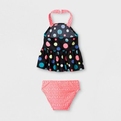 Baby Girls' Polka Dot Tankini Set - Cat & Jack Black 12M