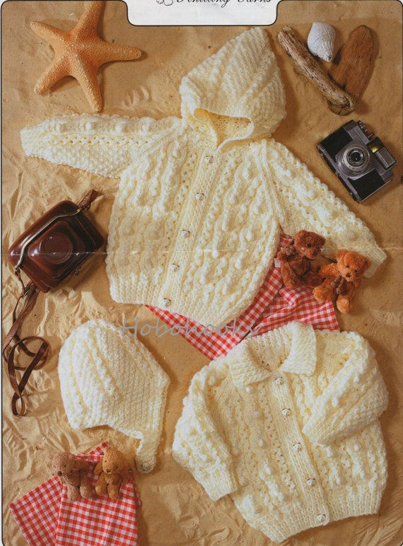 Baby Knitting Pattern Baby Aran Cardigans Hood Hat Childs Aran Cardigan 16-24inches Aran Yarn Baby Knitting Patterns Descarga instantánea en PDF