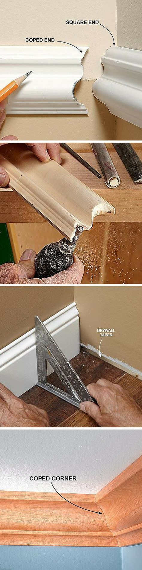 The secret for a glove-tight fit for trim corners is a coped joint. With this technique you can even make complex crown moldings fit without leaving gaps. :