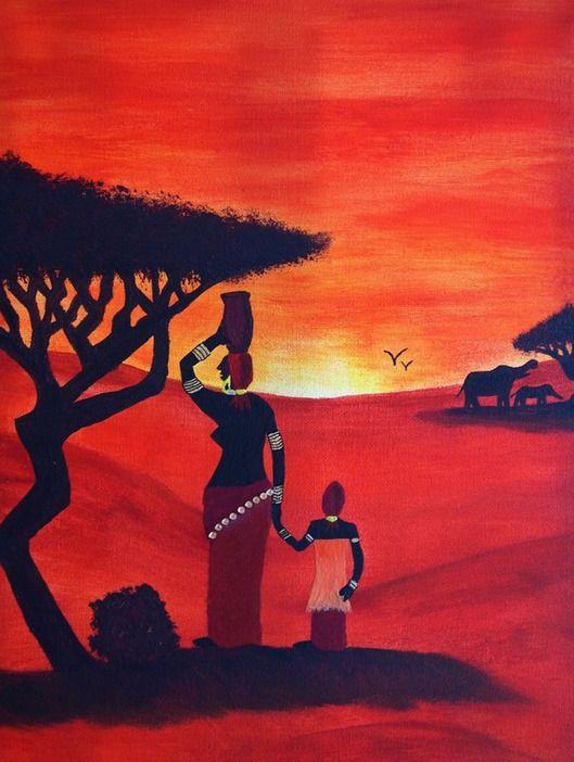 Tableau d 39 un l phant et africain sur toile peinture l - Dessin paysage africain ...