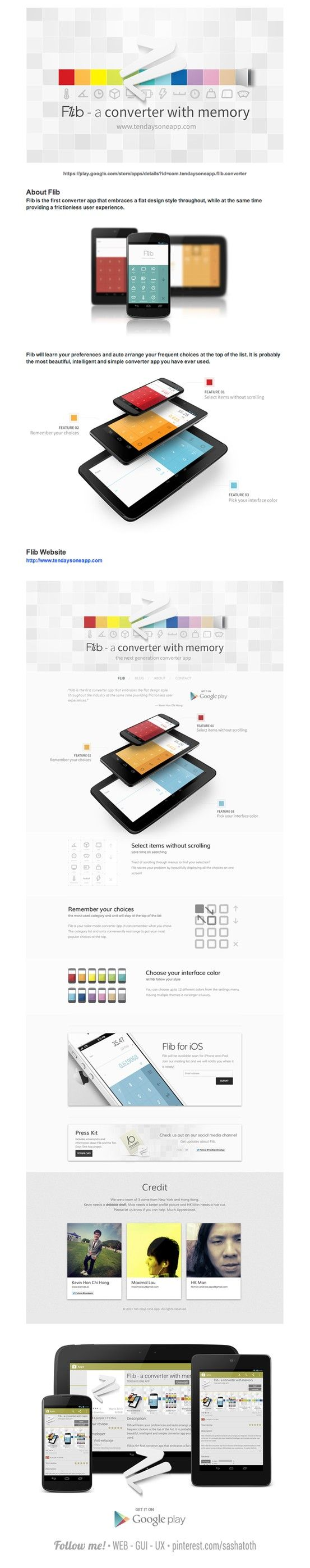 "Flib - A converter with memory  ""Ten Days One App project."" by Kevin Hon Chi Hang, via Behance"