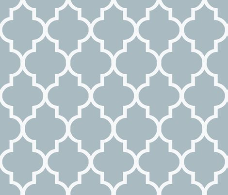 Cashmere Blue and White Quatrefoil fabric by sparrowsong on Spoonflower - custom fabric