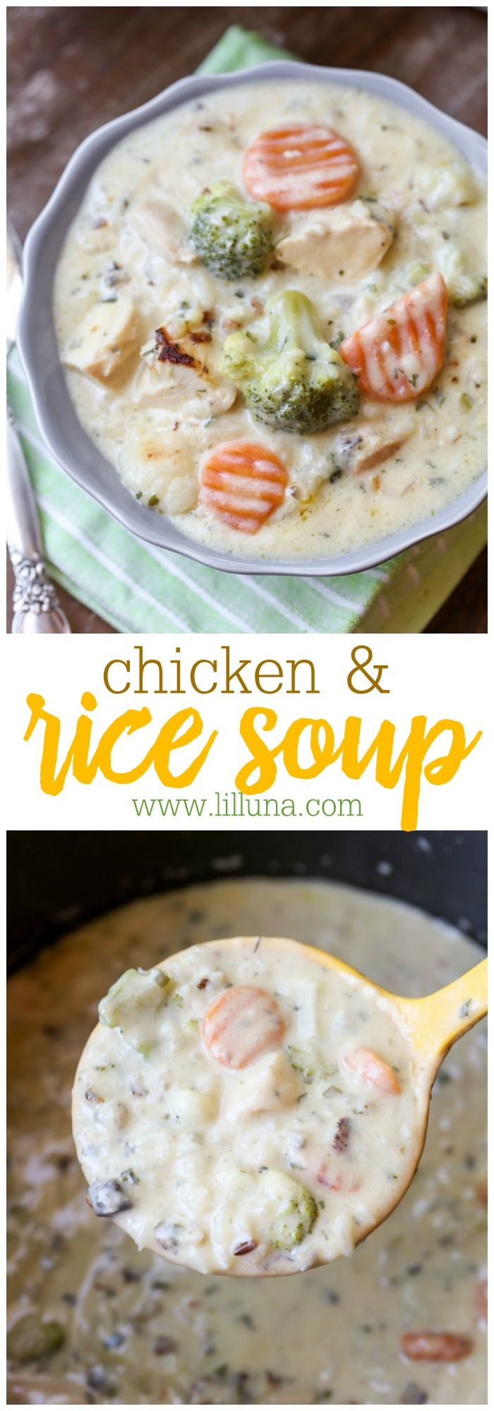 Hearty Chicken and Rice Soup - filled with chicken chunks, veggies, cream cheese, spices and more. It's delicious and perfect for cooler weather!