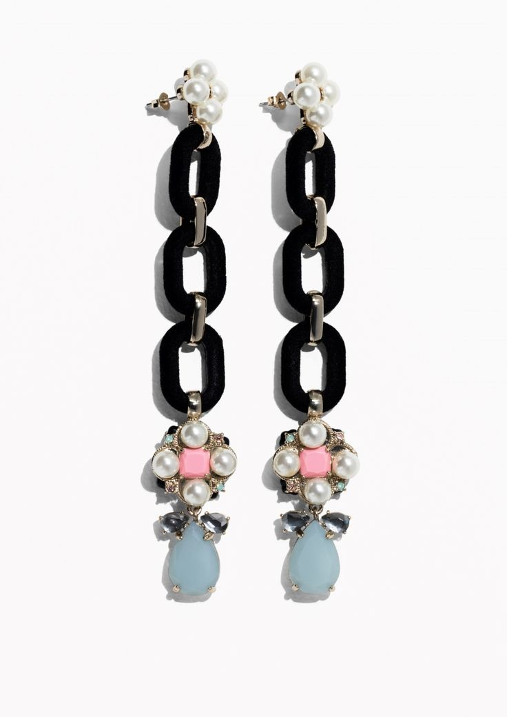 & Other Stories image 1 of Pearlescent Chain Earrings in Black