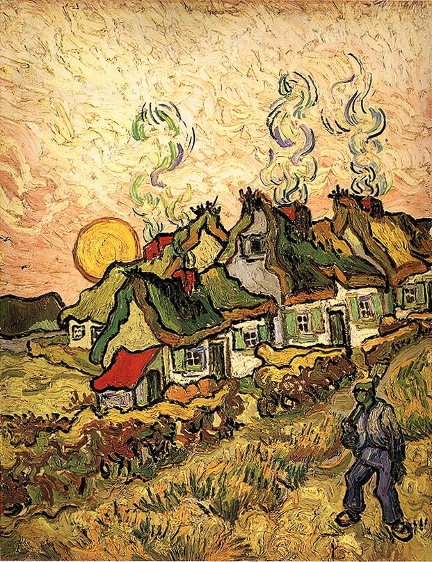 artmagnifique:  VINCENT VAN GOGH. Thatched Cottages in the Sunshine Reminiscence of the North, 1890, oil on canvas.