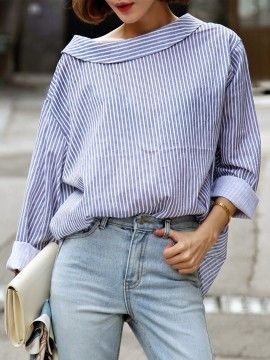 Shop Blue Stripe Long Sleeve Back Button Detail Shirt from choies.com .Free shipping Worldwide.$13.99