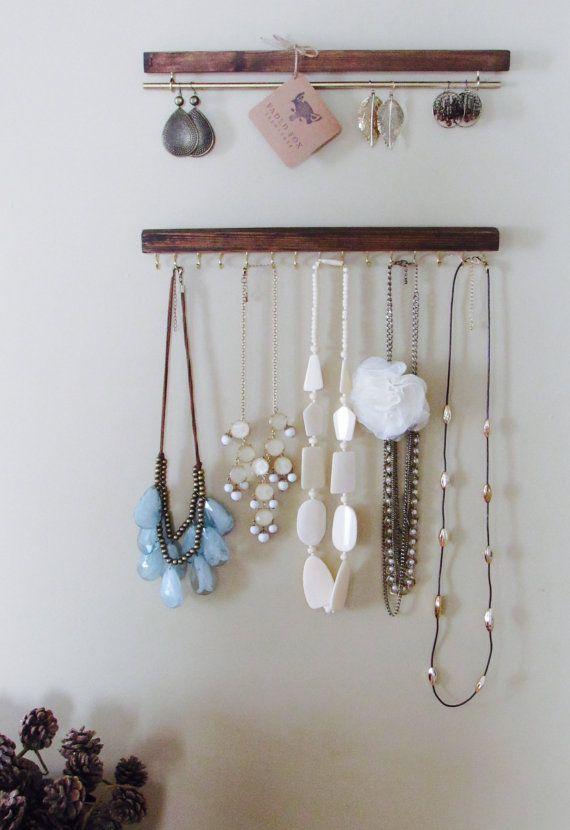 Agricol teinté présentoirs bois collier set par FadedFoxFarmhouse