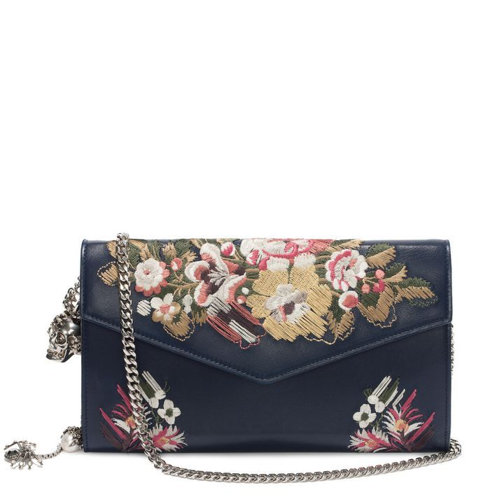 ALEXANDER MCQUEEN | WALLETS & CARDHOLDERS | Floral Embroidery Nappa Wallet with Chain