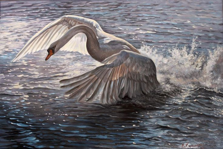 Swan Painting | Original Oil Painting |  Flying Bird | Landscape Painting | Classic Painting on Canvas | Realism painting Nature by OliviaArtGallery on Etsy