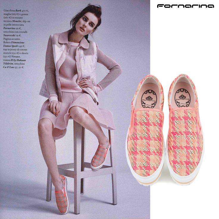 Fornarina sneakers on Io Donna #myFornarina #presspic #SS15 #flatform #woven #slipon