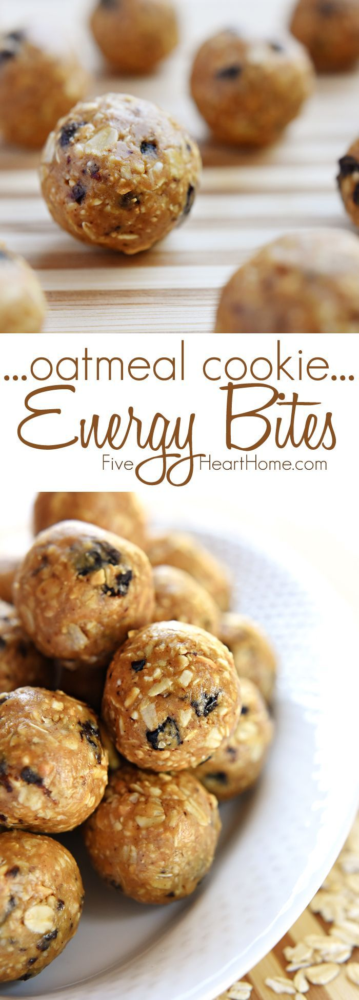 Oatmeal Cookie Energy Bites ~ tasty, no-bake balls combining oats, ground nuts, dried fruit, nut butter, and honey...perfect as a portable breakfast-on-the-go, a protein-packed snack, or a no-guilt-necessary sweet treat!   FiveHeartHome.com