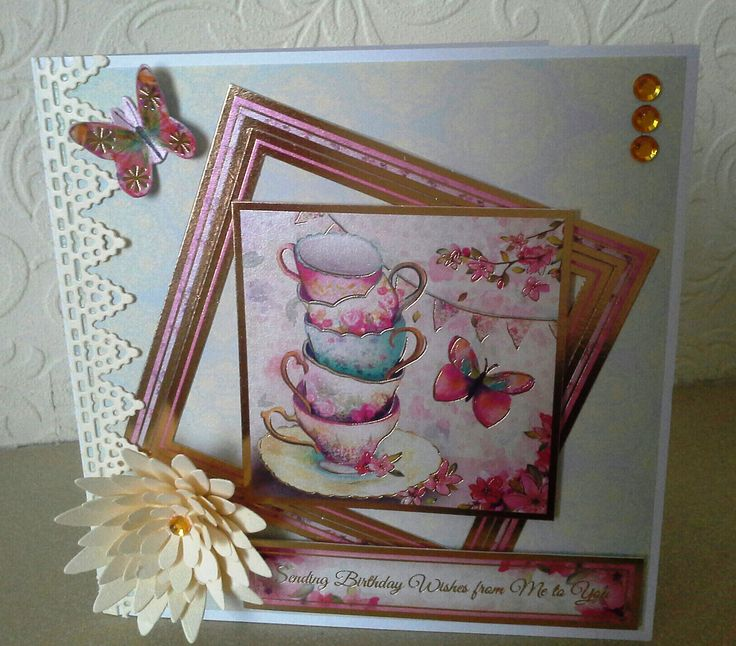 I made this card using Hunkydory white card, dovecraft paper for the backing layer, I die cut the border and layered flower from cream card. The Topper, butterfly and sentiment is from the New Hunkydory Shimmering Pearl collection.