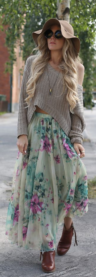 women, fashion. clothing, outfit, hat, skirt, floral, style. sweater, sunglasses, boots