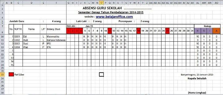 Download Format Absensi Guru Excel Belajar Guru Buku