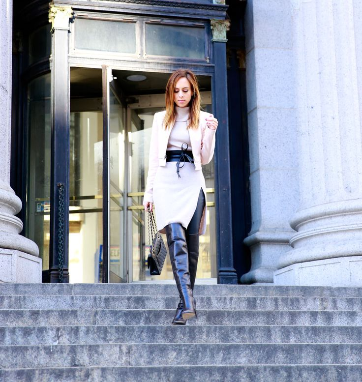 Sydne Style wears leather leggings with bcbg over the knee boots ...