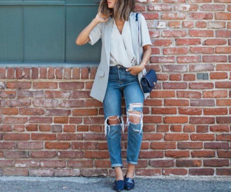 Yırtık kot ile üstün sokak modası kombinasyonları 2016