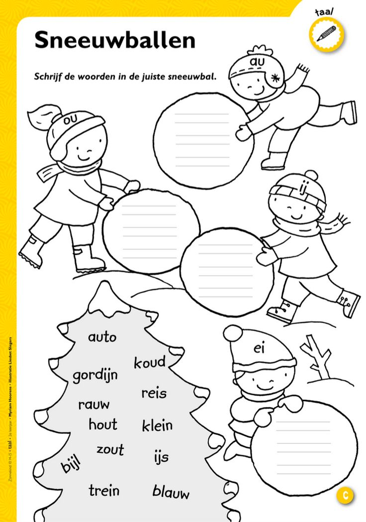 Schrijf de woorden in de juiste sneeuwbal - Werkblad ou/au; ei/ij @keireeen