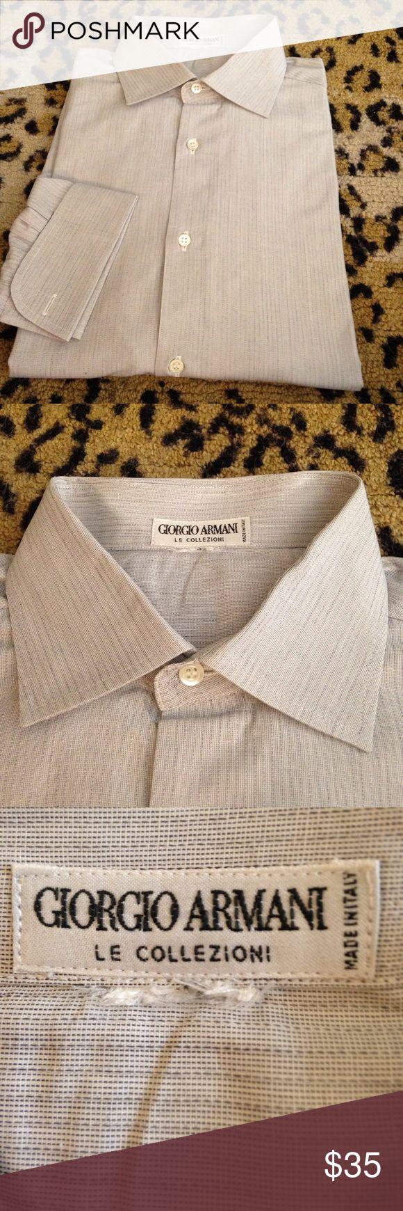 Giorgio Armani Gray French Cuff Shirt 16 34/35 Giorgio Armani Solid Gray Stripe French Cuff Dress Shirt size 16 34/35! Great condition! Please make reasonable offers and bundle! Ask questions! :) Giorgio Armani Shirts Dress Shirts