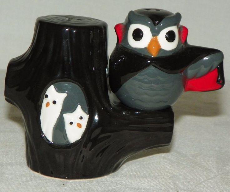 Grasslands Road Ceramic Midnight Owl Tree Magnetic Salt Pepper Shaker Set #GrasslandsRoad