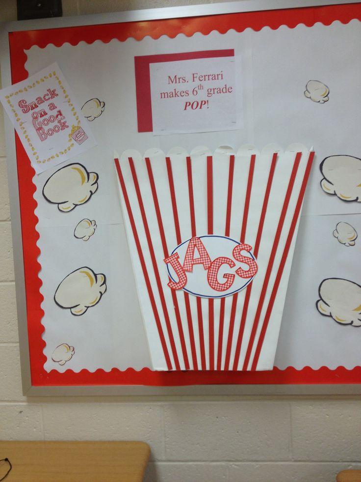 Popcorn bulletin board #popcorn #hollywoodthemedclassroom